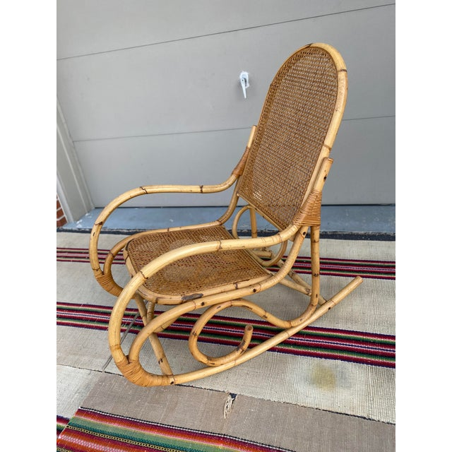 Wood Vintage Mid Century Modern Tiki Bent Bamboo Wood Rocking Chair For Sale - Image 7 of 13