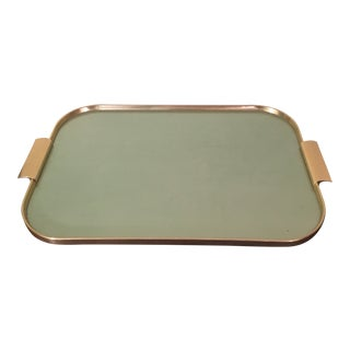 1970s Mid Century Kaymet Green Tone and Gold Bar Tray For Sale
