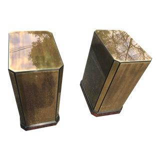 Drexel Brass Veneer Pedestal Table Bases- a Pair