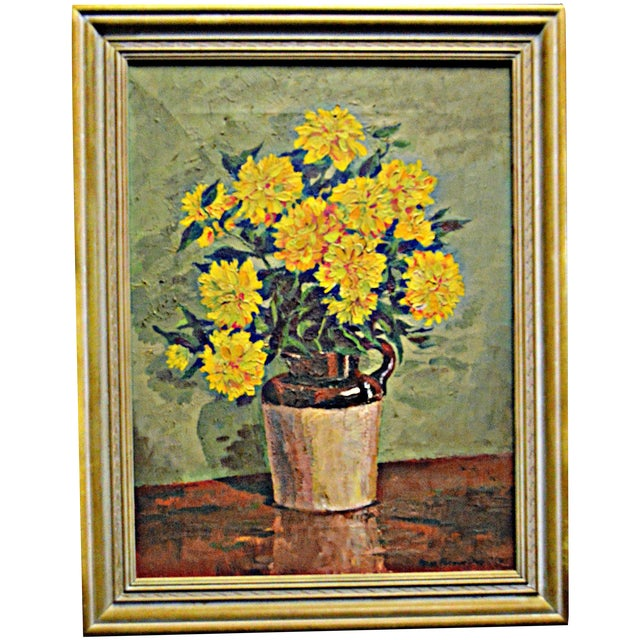 """Yellow Chrysanthemums"" by Irene Putnam Davis - Image 1 of 4"