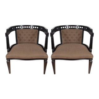 Mid-Century Modernist Chairs in Ebonized Walnut with Cut-Out Design For Sale