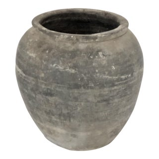 Weathered Gray Antique Pot For Sale