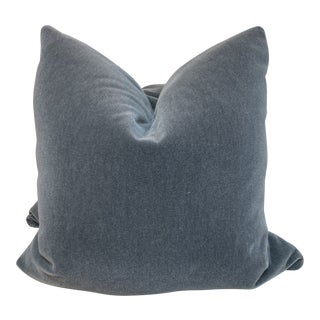 "Slate Blue Mohair Velvet 22"" Pillows-A Pair For Sale"