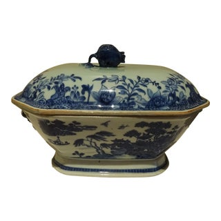 18th C. Chinese Blue & White Porcelain Nanking Tureen For Sale