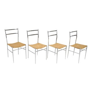 Four Italian Chrome and Woven Grass Seat Chairs For Sale