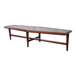Drexel Heritage Mid-Century Modern Walnut Boat-Shaped Coffee Table, Newly Restored For Sale