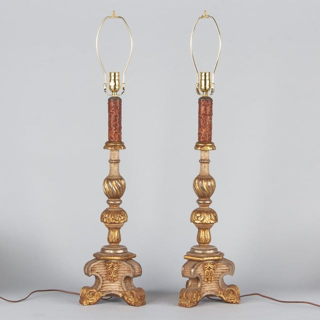 Late 19th Century Italian Painted Gilt Wooden Lamps - a Pair For Sale - Image 11 of 13
