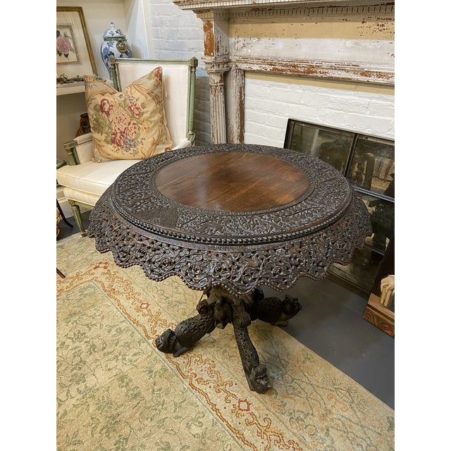 Black 19th Century Burmese Round Center Table For Sale - Image 8 of 10