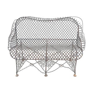 Antique French Wire Bench For Sale