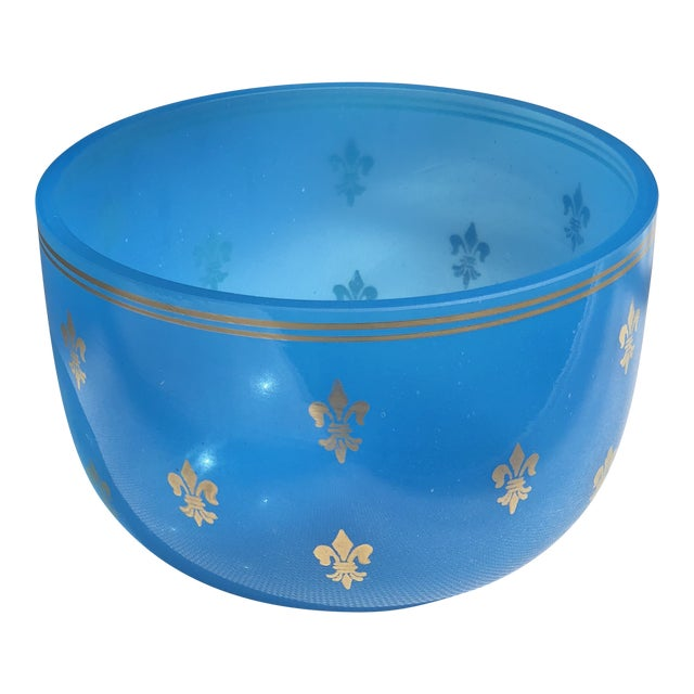 19th Century Blue Opaline Glass Bowl For Sale