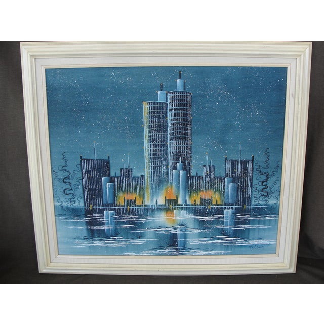 Vintage Mid-Century Night Cityscape Oil Painting - Image 2 of 8