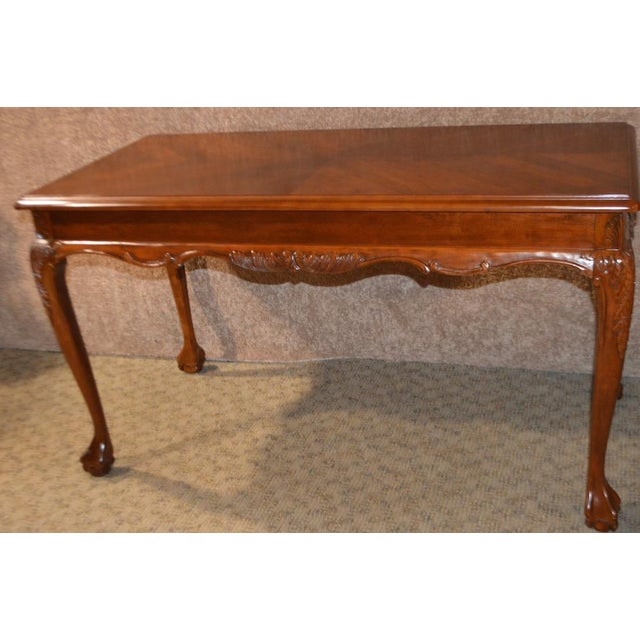Traditional Chippendale Style Two Drawer Writing Table Desk W Ball Claw Feet For