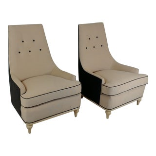 1960s Modern Tan & Brown Club Chairs - a Pair For Sale
