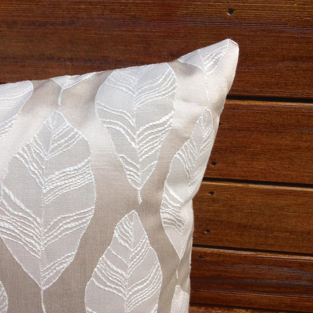 Cream and Gold Embroidered Leaf Print Pillow - Image 3 of 4