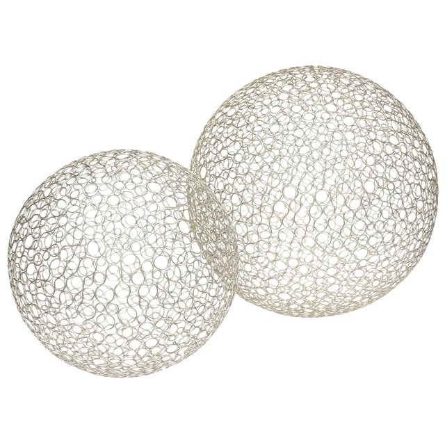 Pair of Sculptural Interweaved Balls For Sale