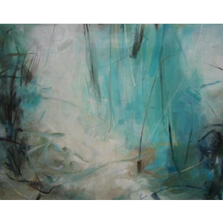 "Cooper Acrylic Painting ""Water's Edge"", Contemporary, Large, Blue Abstract For Sale"