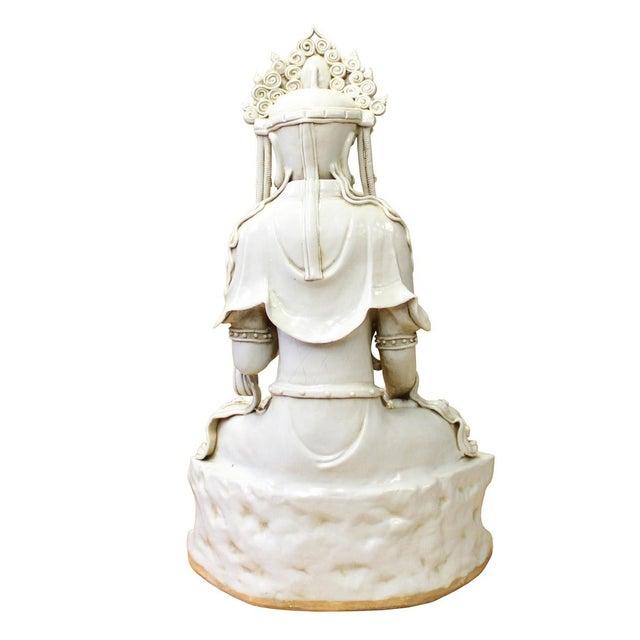 Chinese Tong Style Off White Porcelain Kwan Yin Tara Bodhisattva Statue For Sale - Image 5 of 7