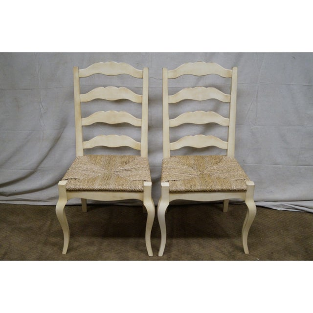 French Country Painted Ladder Back Rush Seat Dining Chairs