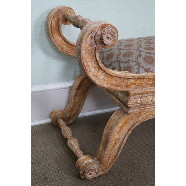 Crackle Painted X Base Regency Style Bench For Sale - Image 7 of 10