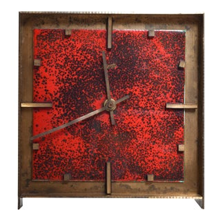 Mid-Century Modern Brass & Enamel Table Clock, Atlanta Exclusiv, Western Germany, Kienzle For Sale
