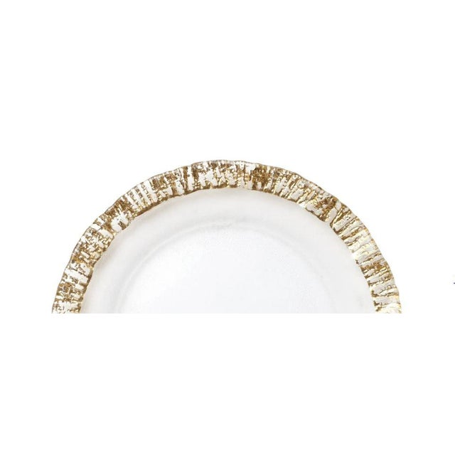 """The Rufolo Glass Gold Rim Service Plate/Charger creates a luxurious table setting. 12.75""""D CARE & MATERIALS: Handwash Only..."""