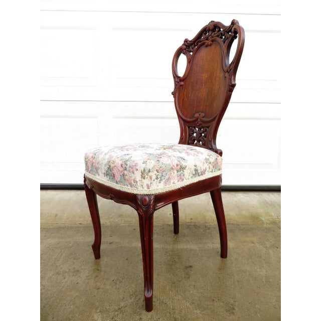 Brown Late 19th Century Antique French Carved Mahogany Art Nouveau Side Chair For Sale - Image 8 of 13