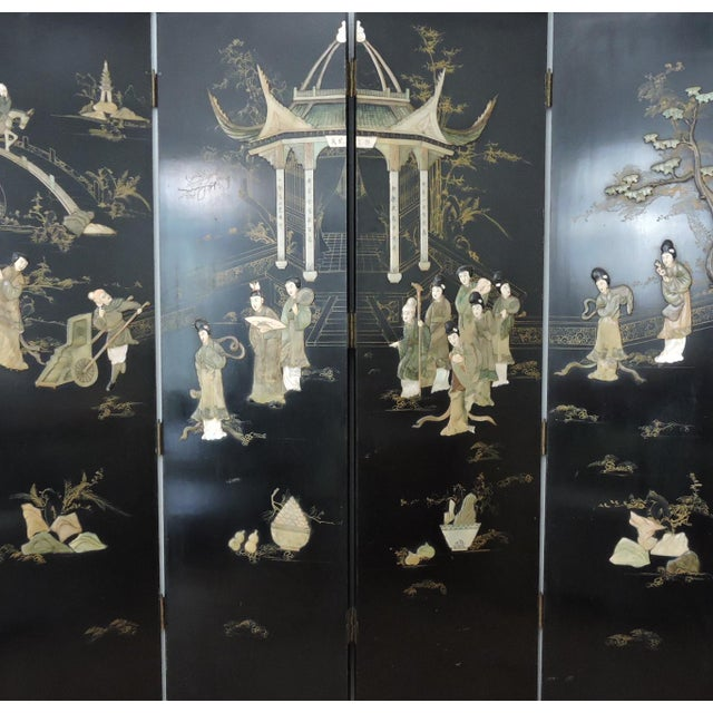 Chinoiserie Antique Chinese Black Lacquer & Jade Screen / Room Divider, Garden Pavilion & Noble Ladies For Sale - Image 3 of 11