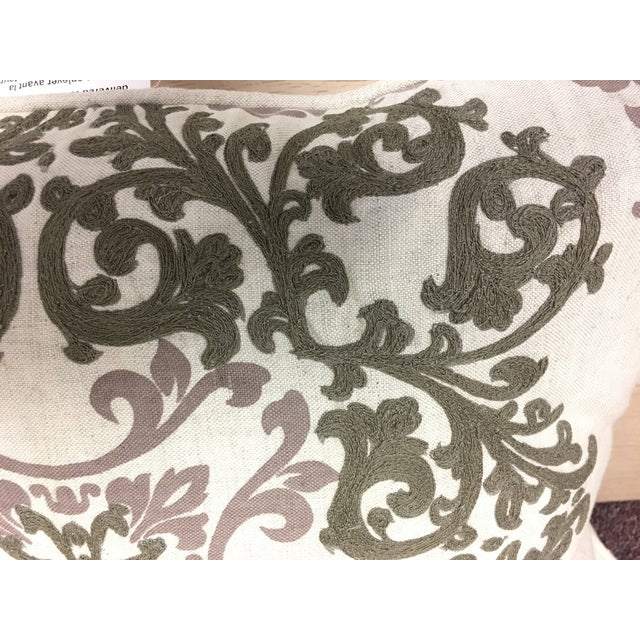 2010s Villa Embroidered Linen Pillow For Sale - Image 5 of 10