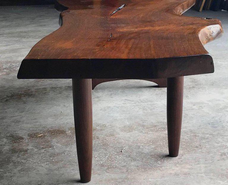 Nakashima Style Live Edge Walnut Slab Coffee Table For Sale   Image 4 Of 7
