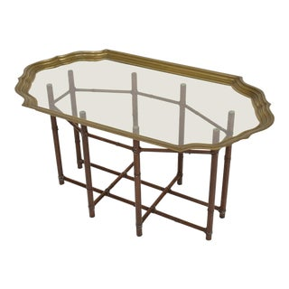 Hollywood Regency Faux Bamboo Coffee Table With Brass & Glass Top For Sale