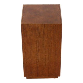 Parquetry Top Walnut Square Pedestal Stand For Sale