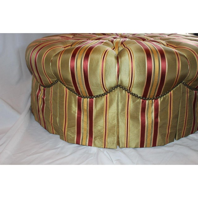 Traditional Henredon Round Tufted Striped Silk Ottoman For Sale - Image 3 of 8