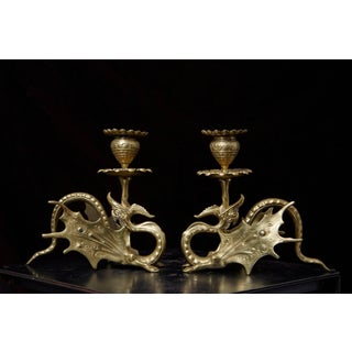 Pair of 19th Century Victorian Winged Dragon Brass Candleholders Preview