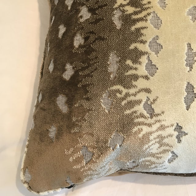 """This Luxe 24"""" pillow makes a statement. Belgian antelope Velvet Textile from Old World Weavers is backed up with a solid..."""