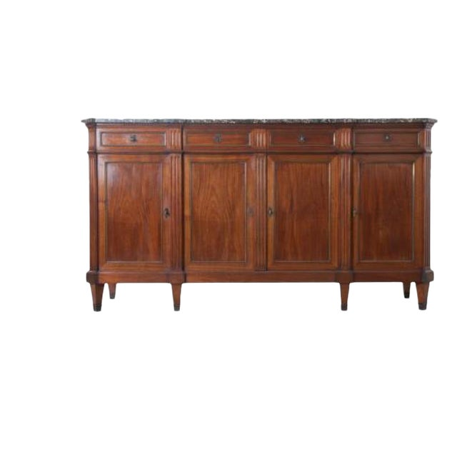 French Late 19th Century Louis XVI Style Mahogany Enfilade with Marble Top - Image 1 of 10