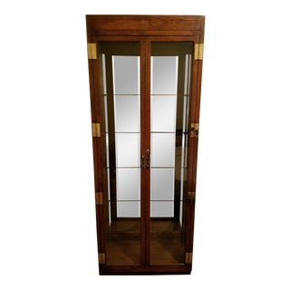 Henredon Campaign Style Lighted Curio Display Cabinet