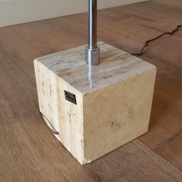1970s 1970s Fratelli Mannelli Travertine and Chrome Floor Lamp for Raymor For Sale - Image 5 of 13