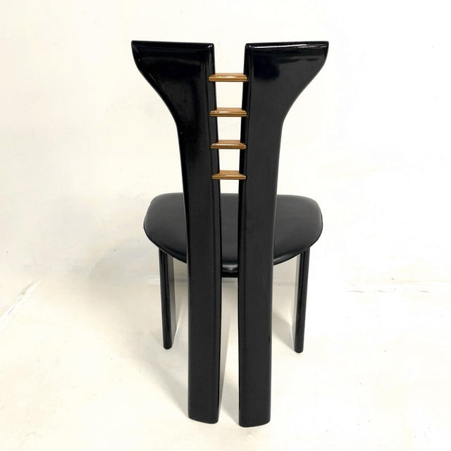 Set of 4 Sculptural 1970s Black Lacquer Pierre Cardin Chairs With Leather Seats For Sale - Image 9 of 10