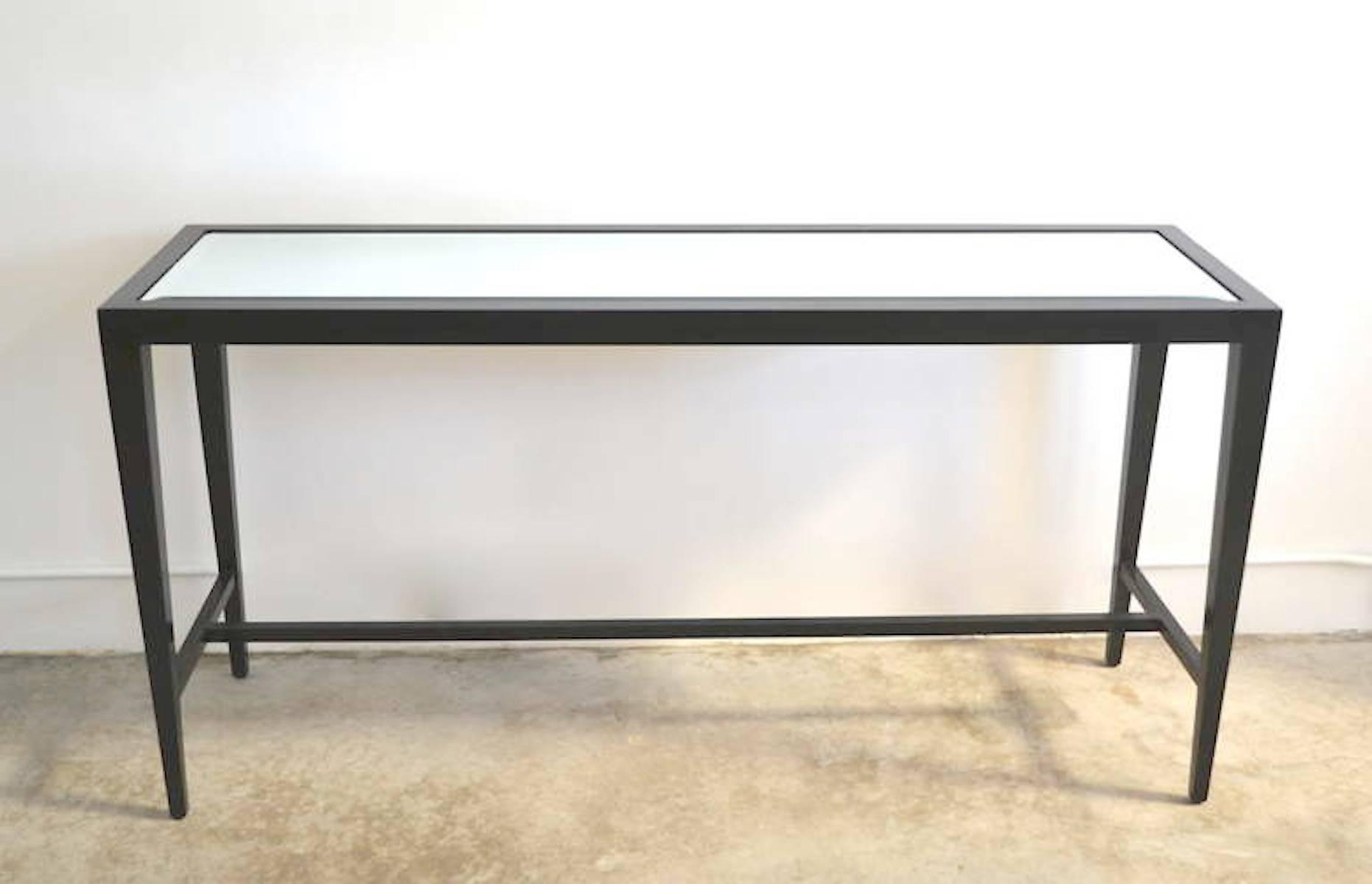 Mid Century Black Lacquered Console Table