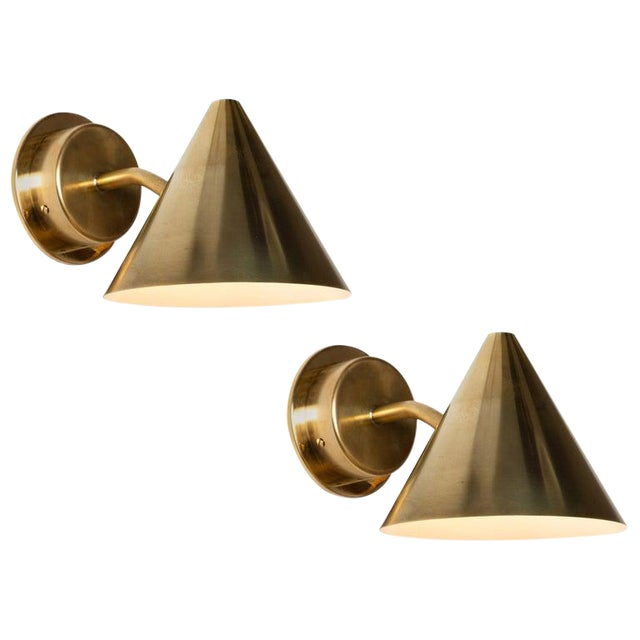 Hans-Agne Jakobsson 'Mini-Tratten' Polished Brass Outdoor Sconces - a Pair For Sale