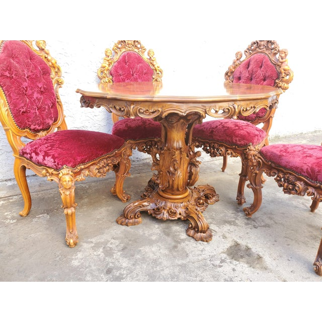 Antique Carved & Inlaid Rococo Revival Italian Round Dining Set-Set of 5 For Sale - Image 4 of 13