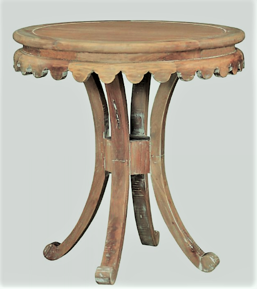 2010s Natural Wood Pedestal Accent Table For Sale   Image 5 Of 5