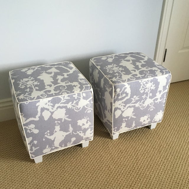 Purple Chinoiserie Schumacher Cube Ottomans - a Pair For Sale - Image 8 of 8