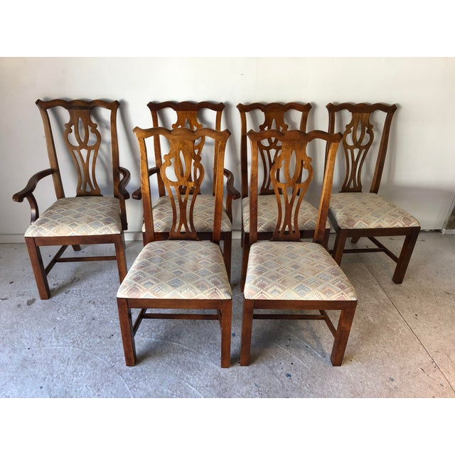 Vintage Thomasville Dining Chairs Set (6) Fruitwood c. 1980's, small stains on fabric, one back-splatter repair (shown)....