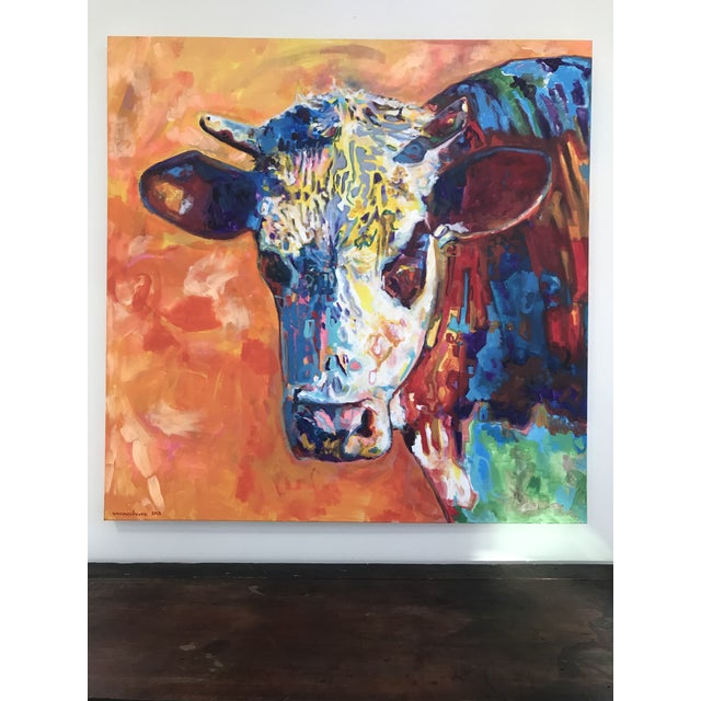 Pop Art Contemporary Cow Acrylic Painting by David Warmenhoven For Sale - Image 9 of 9