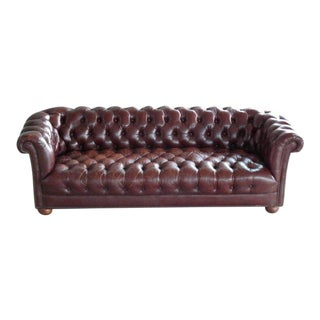 Classic Midcentury Chesterfield Sofa in Cordovan Colored Leather For Sale