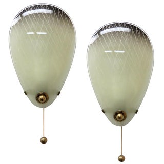1950s Italian Glass Wall Lights - a Pair For Sale
