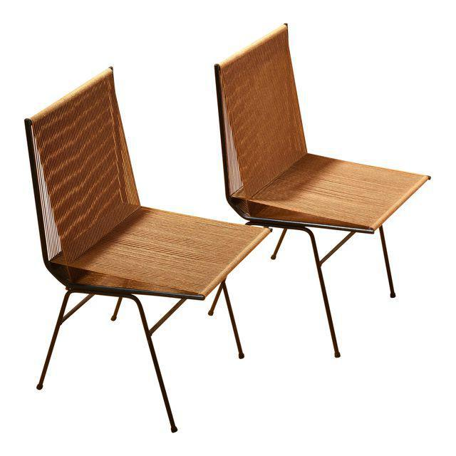 """Brown 1950s Allan Gould """"String"""" or Rope Chairs - a Pair For Sale - Image 8 of 8"""