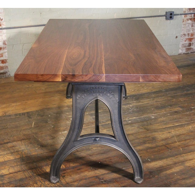 Iron Industrial Desk – Walnut Top With Cast-Iron Legs For Sale - Image 7 of 13
