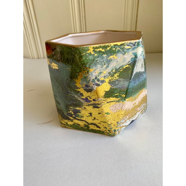 Geometric Ceramic Pottery Plant Vessel or Vase For Sale - Image 4 of 9